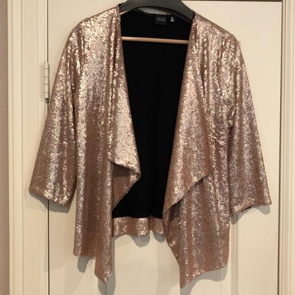 db5256fae90 Jackets   Blazers - Sequin Drape Front Jacket